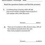 Free Printable Percentage Word Problems Worksheet For Fifth Grade | Printable Percentage Worksheets