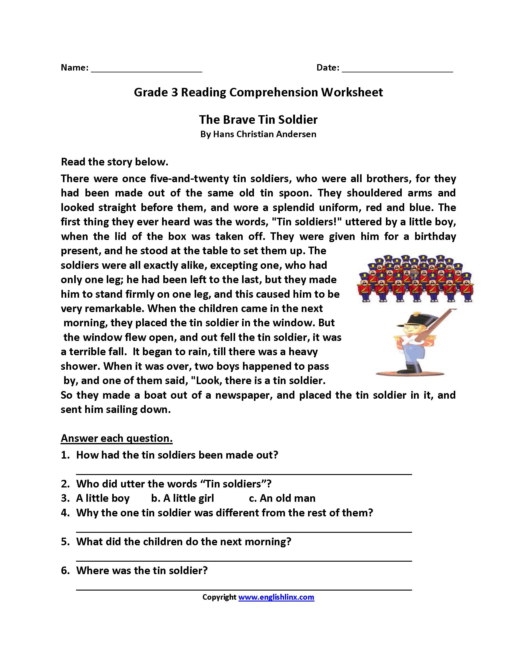 Free Printable Reading Comprehension Worksheets 3Rd Grade For Free   Free Printable 3Rd Grade Reading Worksheets