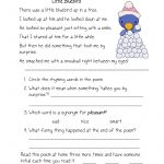 Free Printable Reading Comprehension Worksheets For Kindergarten | Free Printable Ela Worksheets