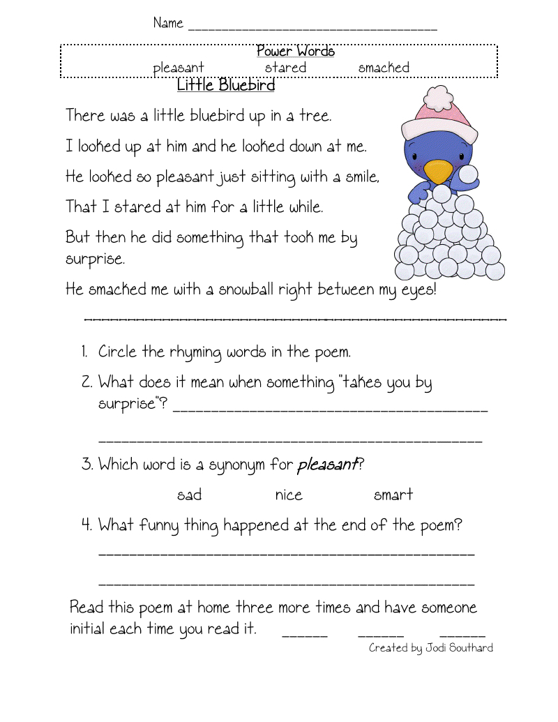 Free Printable Reading Comprehension Worksheets For Kindergarten | Free Printable Reading Comprehension Worksheets For Kindergarten