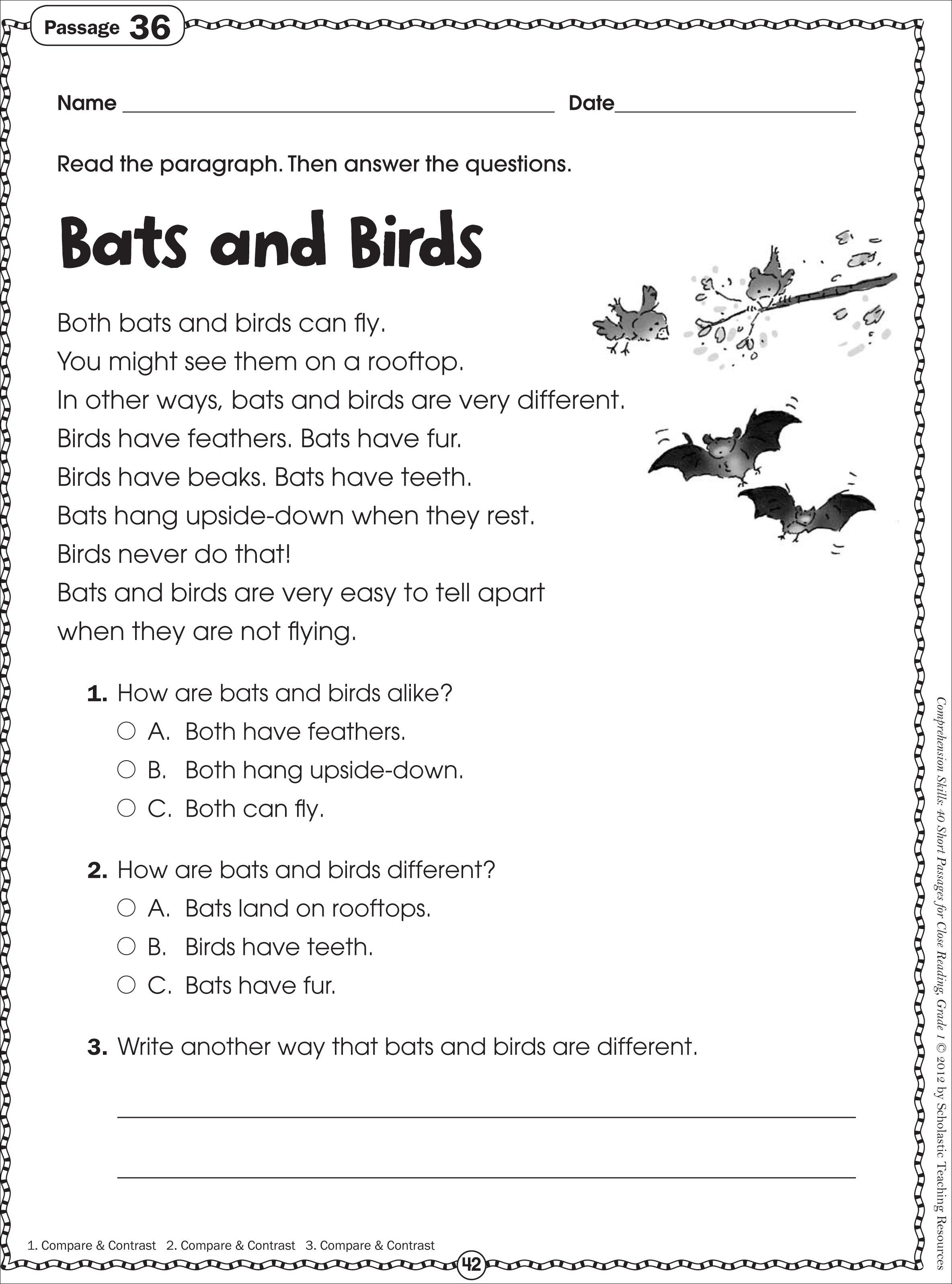 Free Printable Reading Comprehension Worksheets For Kindergarten | Year 3 Literacy Worksheets Printable