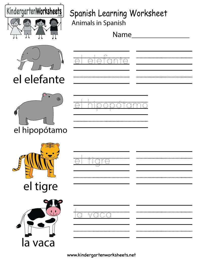 Free Printable Spanish Learning Worksheet For Kindergarten | Free Printable Spanish Worksheets For Beginners