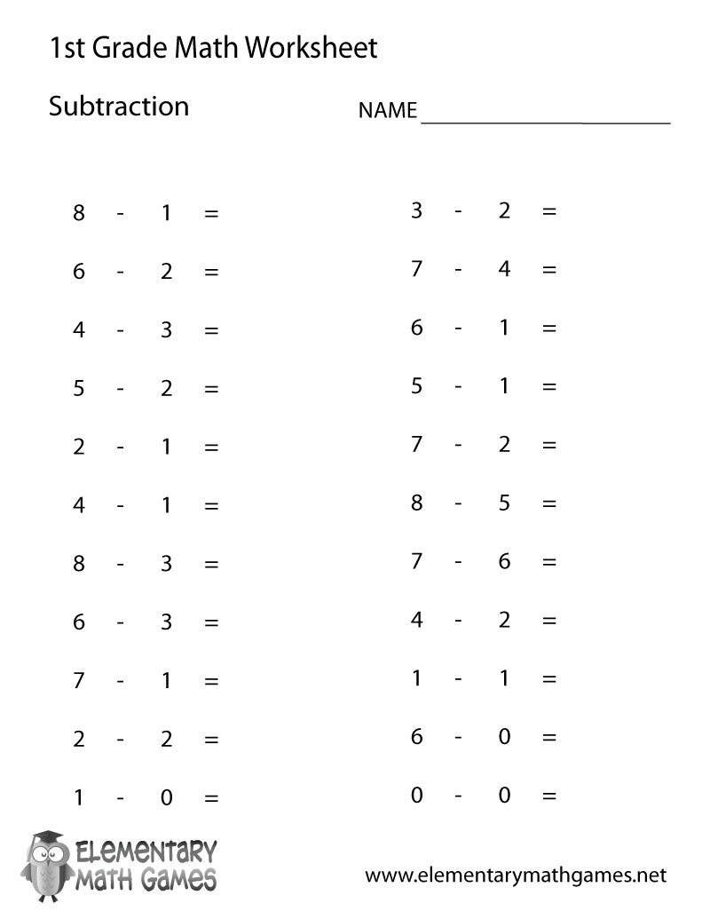 Free Printable Subtraction Worksheet For First Grade | Free Printable First Grade Worksheets