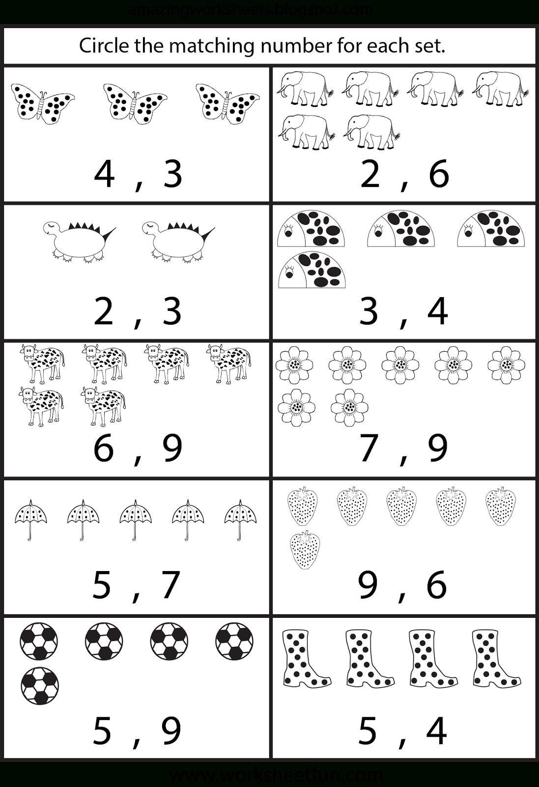Free Printable Worksheets: Counting Worksheets For Kindergarten | At | Free Printable Worksheets For Preschool Teachers