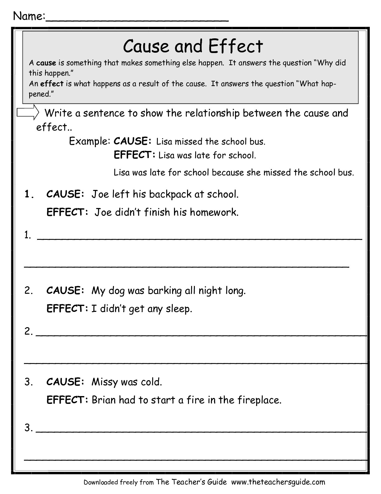 Free Reading Worksheets From The Teacher's Guide | Printable Literature Worksheets