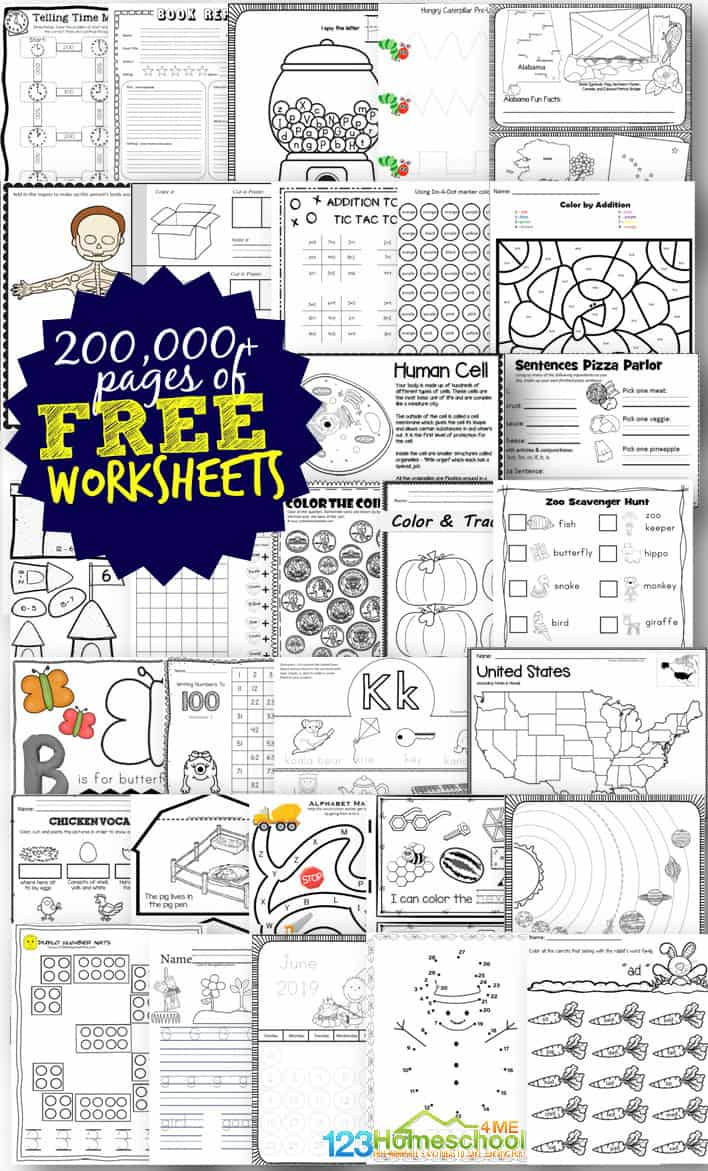 Free Worksheets - 200,000+ For Prek-6Th | 123 Homeschool 4 Me | Homeschool Printable Worksheets Kindergarten