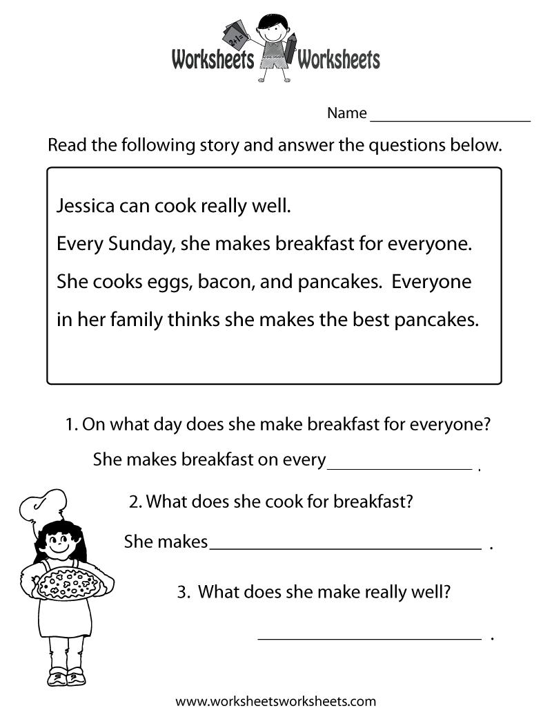 Freeeducation/worksheets For Second Grade |  Comprehension | Second Grade Reading Comprehension Printable Worksheets