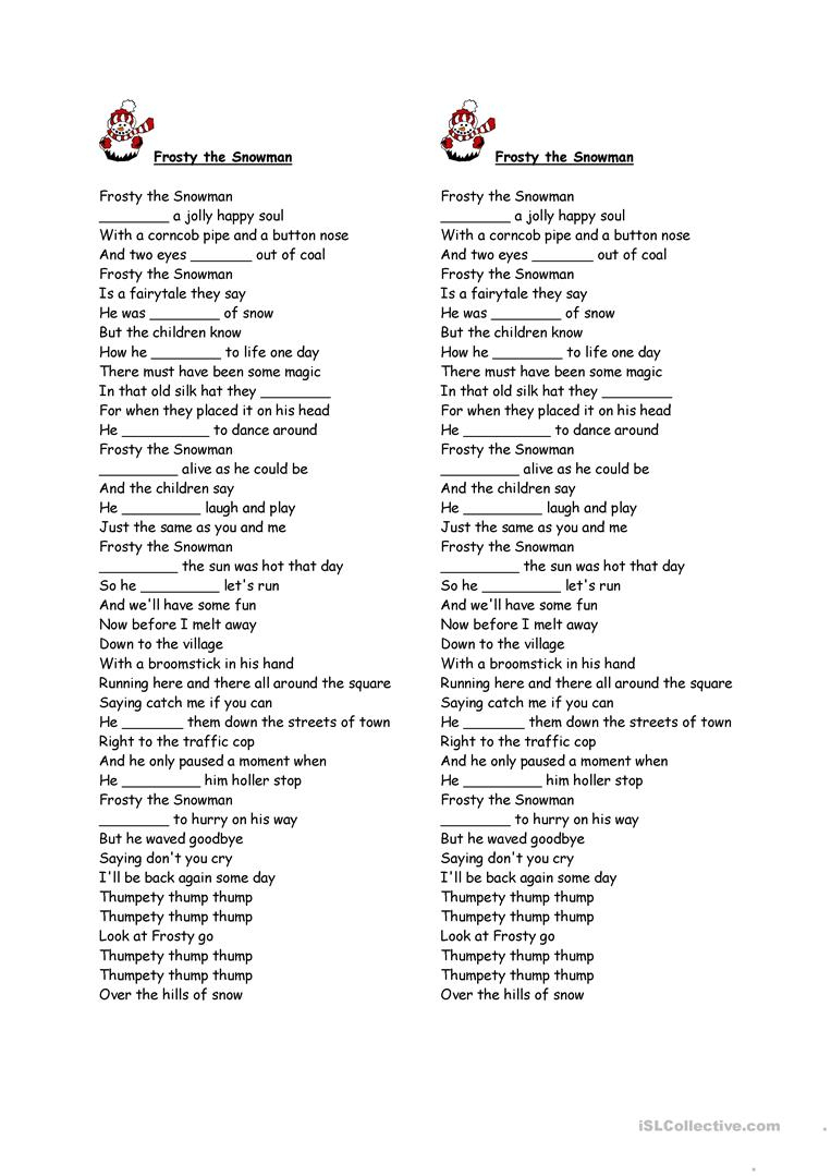 Frosty The Snowman Gap Fill Worksheet - Free Esl Printable | Snowman Worksheet Printables