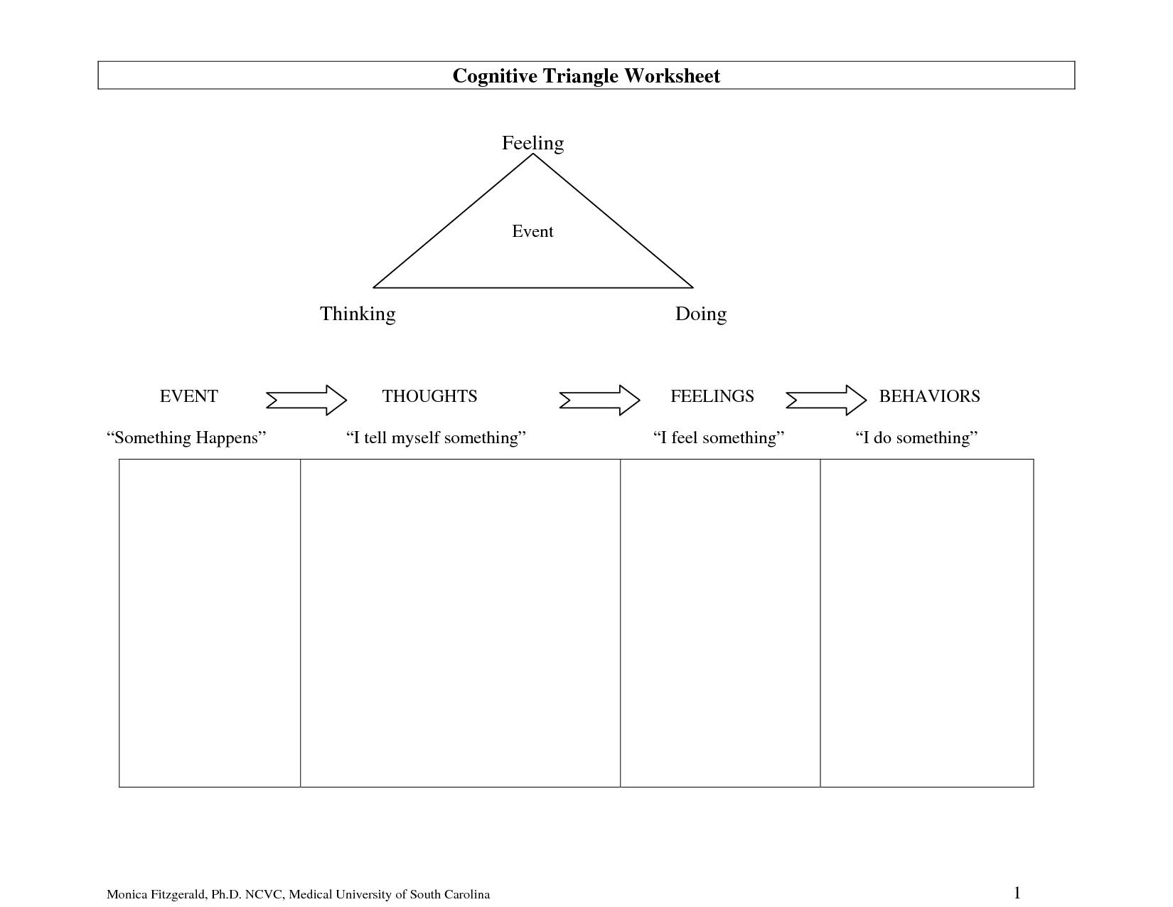 Full Size Printable Feelings Worksheets | Cognitive Triangle | Cbt Printable Worksheets