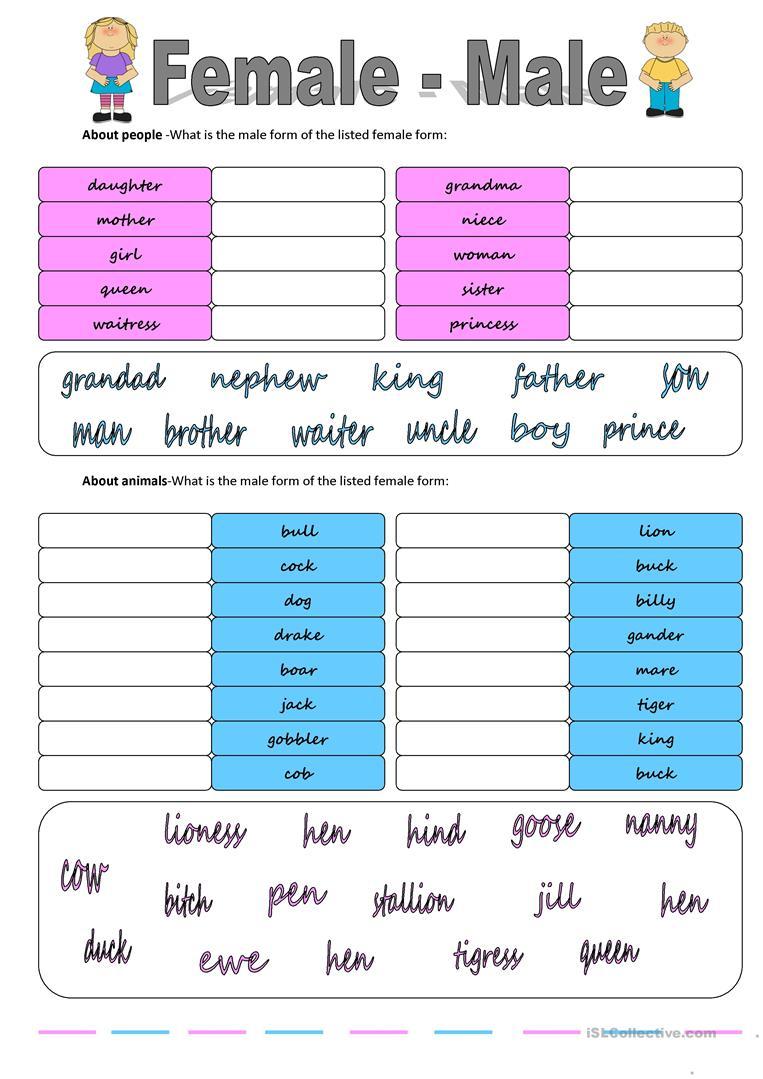 Gender: Female - Male Worksheet - Free Esl Printable Worksheets Made | Free Printable Worksheets On Genders