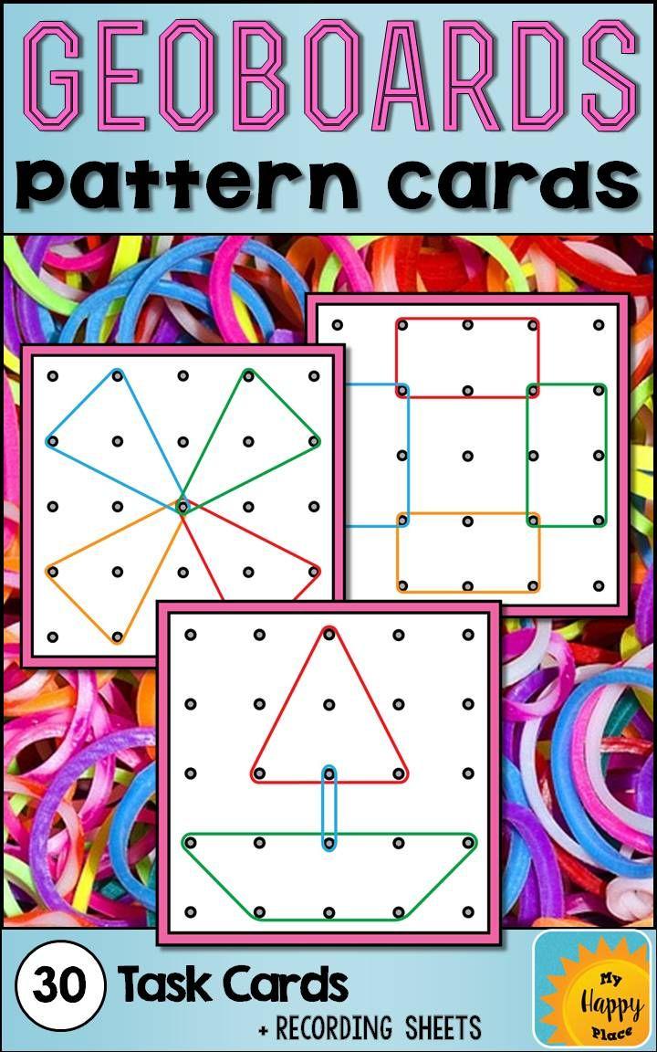 Geoboards Task Cards | Kindergartenklub | Math Classroom | Geoboard Printable Worksheets