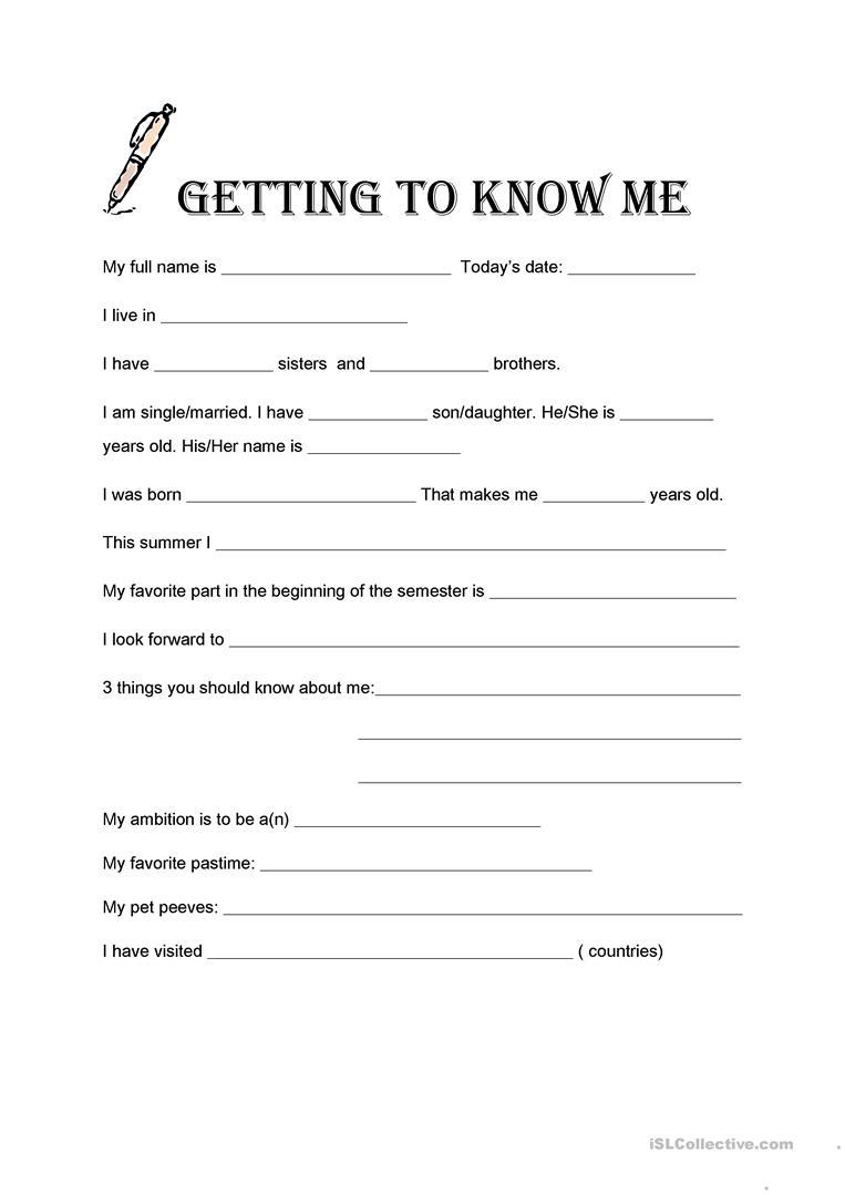 Getting To Know Me Worksheet - Free Esl Printable Worksheets Made | Printable Getting To Know You Worksheets