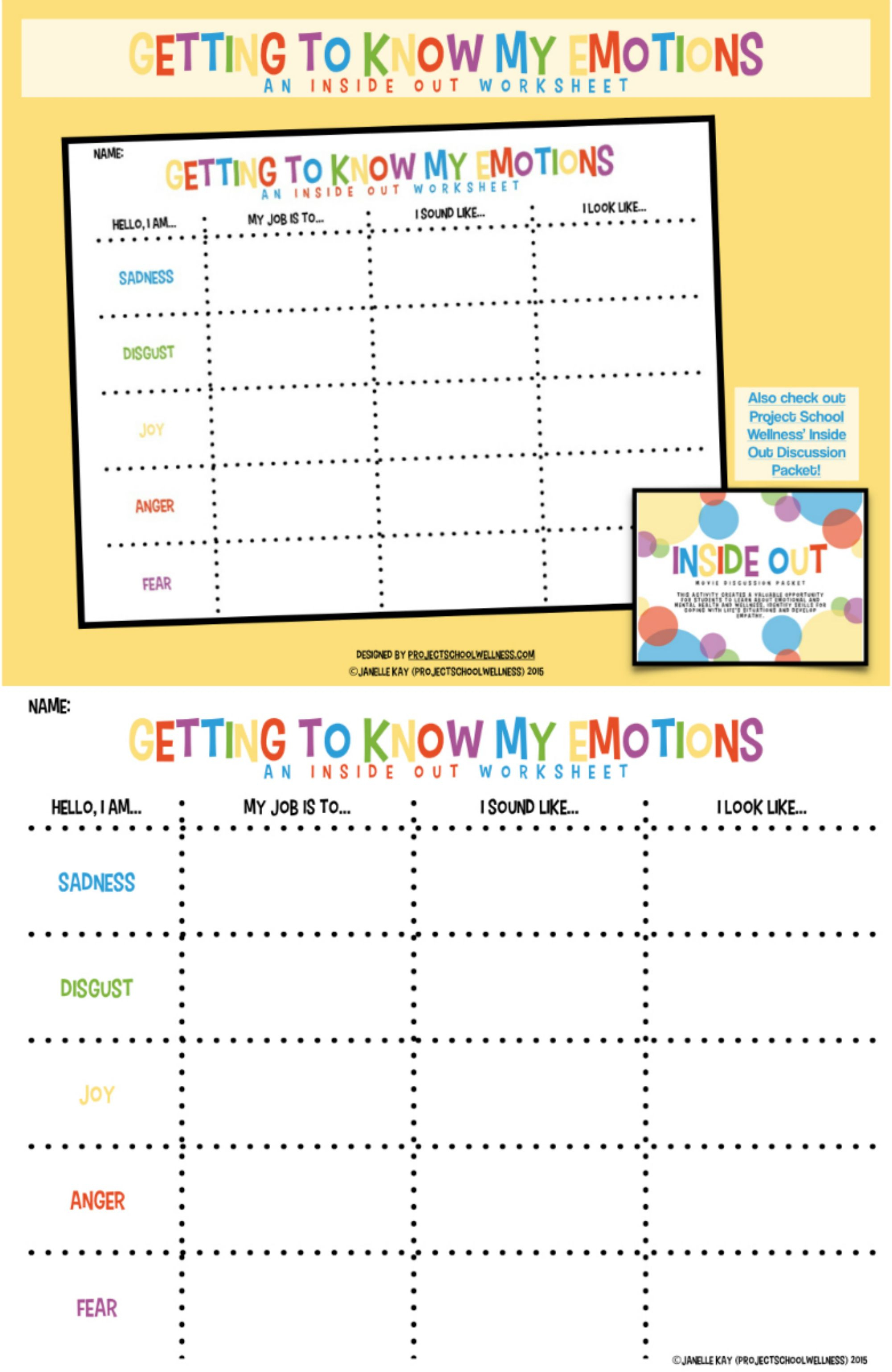 Getting To Know My Emotions - Inside & Out Of Emotions (Three | Emotional Intelligence Activities For Children Printable Worksheets