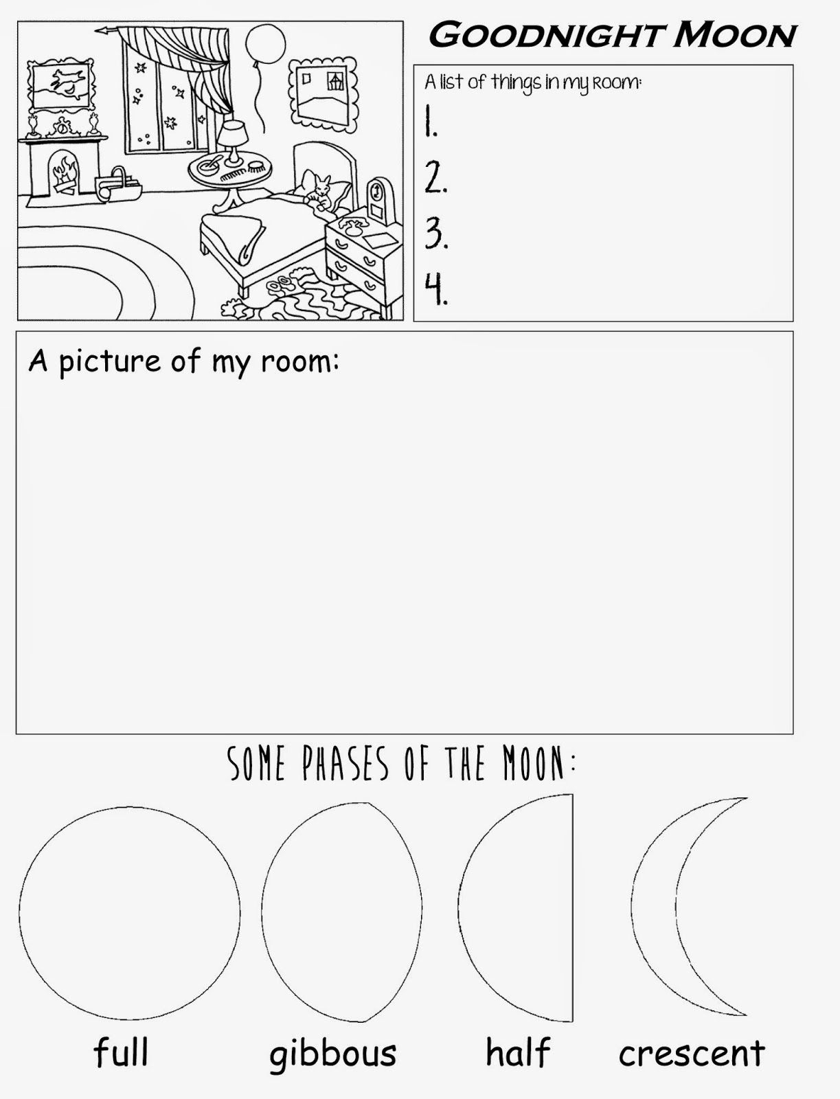 Goodnight Moon Free Printable Worksheet For Preschool Kindergarten | Goodnight Moon Printable Worksheets