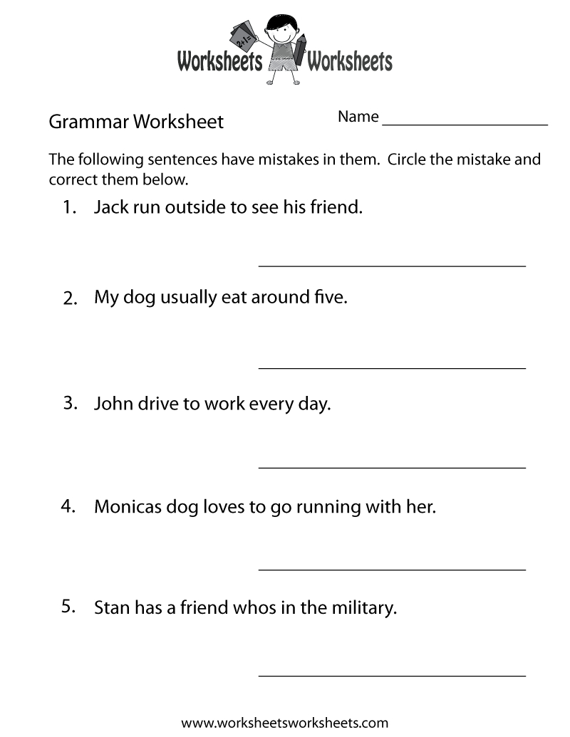 Grammar Practice Worksheet Printable | Grammar Worksheets | Grammar | Printable Grammar Worksheets