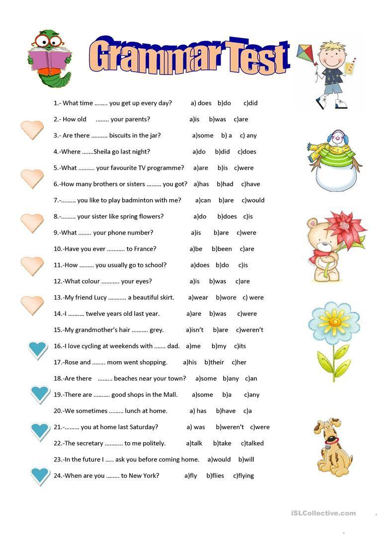 Grammar Test Worksheet - Free Esl Printable Worksheets Made | Esl Printable Grammar Worksheets