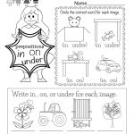 Grammar Worksheet   Free Kindergarten English Worksheet For Kids | Free Printable Preposition Worksheets For Kindergarten