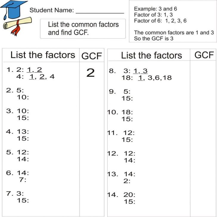 Free Printable Greatest Common Factor Worksheets