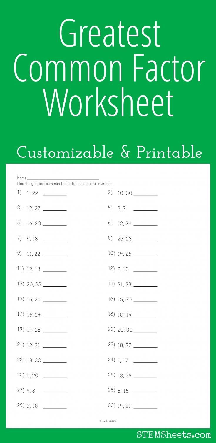 Greatest Common Factor Worksheet - Customizable And Printable | Math | Free Printable Greatest Common Factor Worksheets