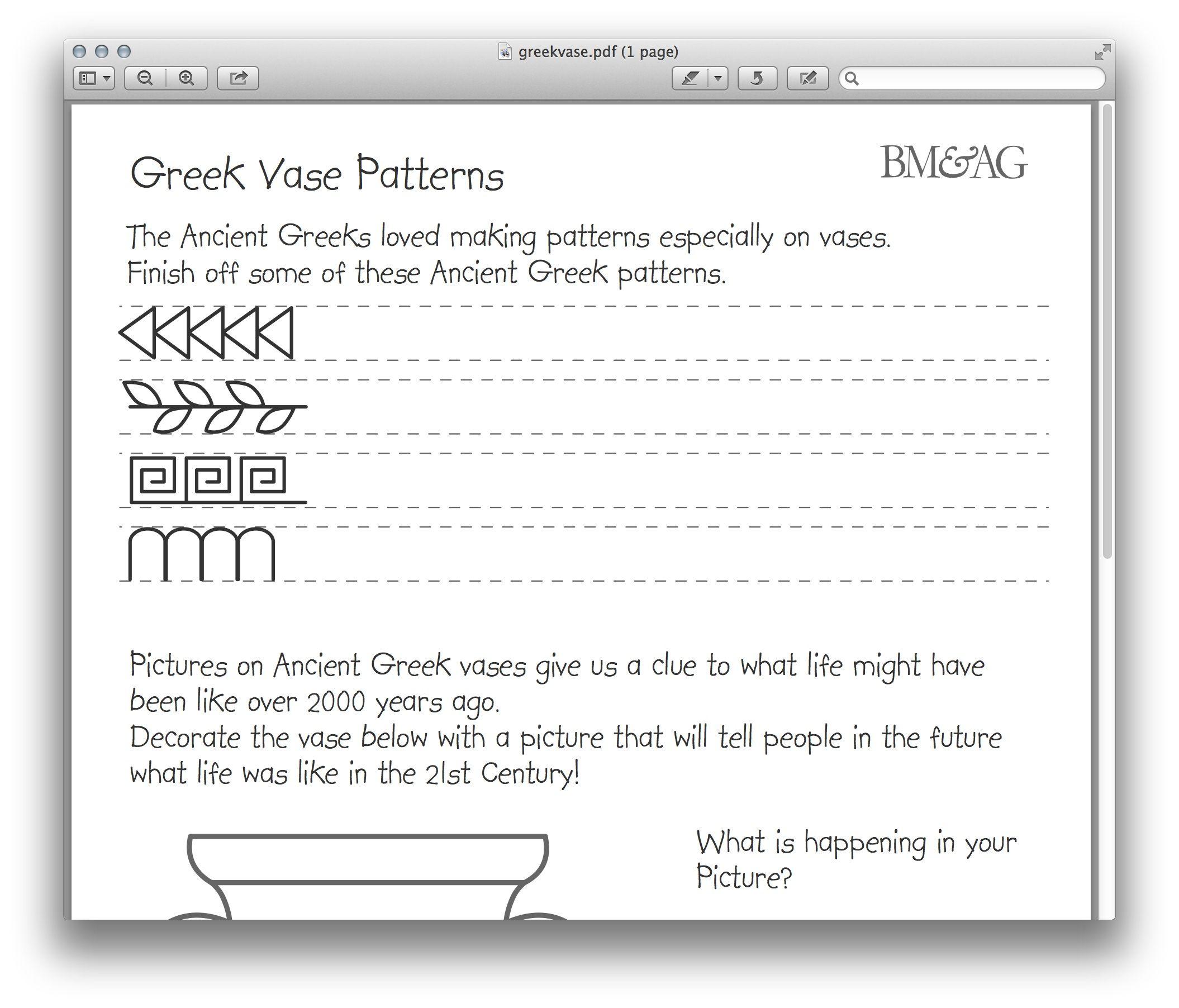 Greek Pottery And Patterns Worksheet. Mystery Of History Volume 1 | Greek Alphabet Printable Worksheets