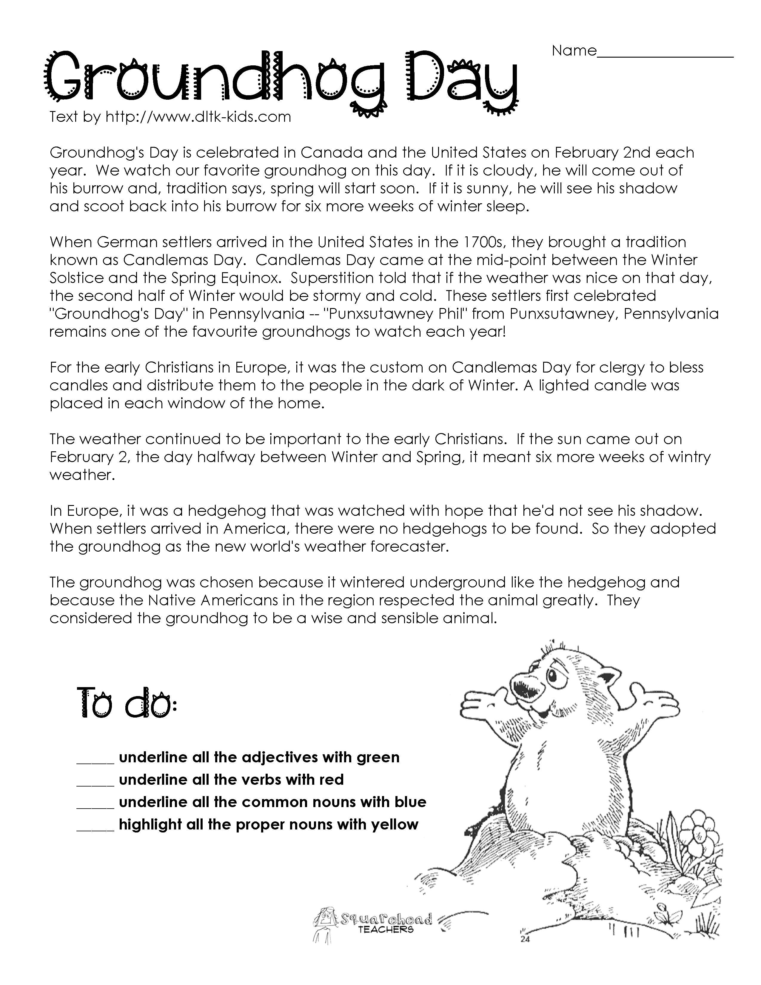Groundhog Day Comprehension Worksheets - Google Search | Ground Hog | Free Printable Worksheets For Groundhog Day
