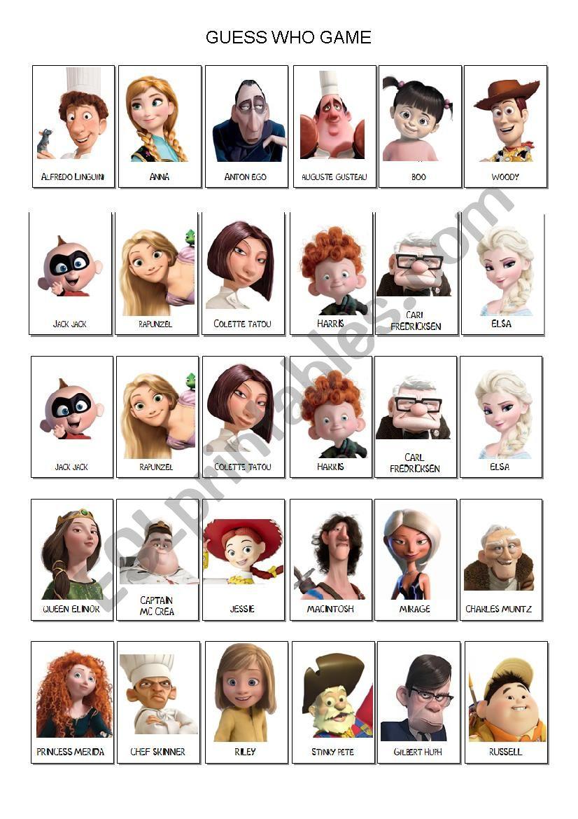 Guess Who Game Disney Pixar - Esl Worksheetlaetimag | Guess Who Printable Worksheets