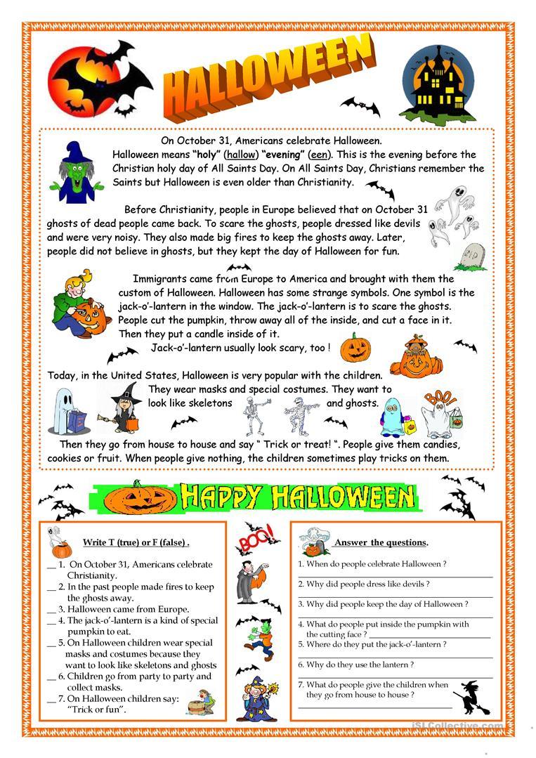 Halloween - Reading Worksheet - Free Esl Printable Worksheets Made | Printable Worksheets Esl Students