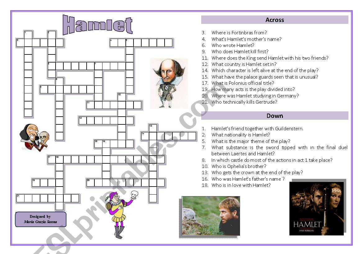 Hamlet - Crossword Puzzle - Esl Worksheetoppilif | Hamlet Printable Worksheets