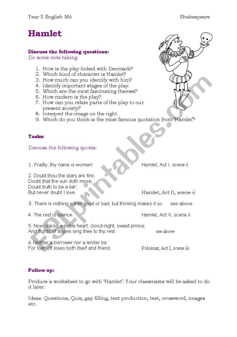 Hamlet - Esl Worksheetchristl Tirol   Hamlet Printable Worksheets