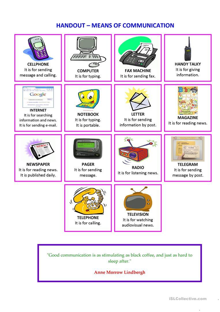 Handout Means Of Communication Worksheet - Free Esl Printable | Free Printable Worksheets On Means Of Communication