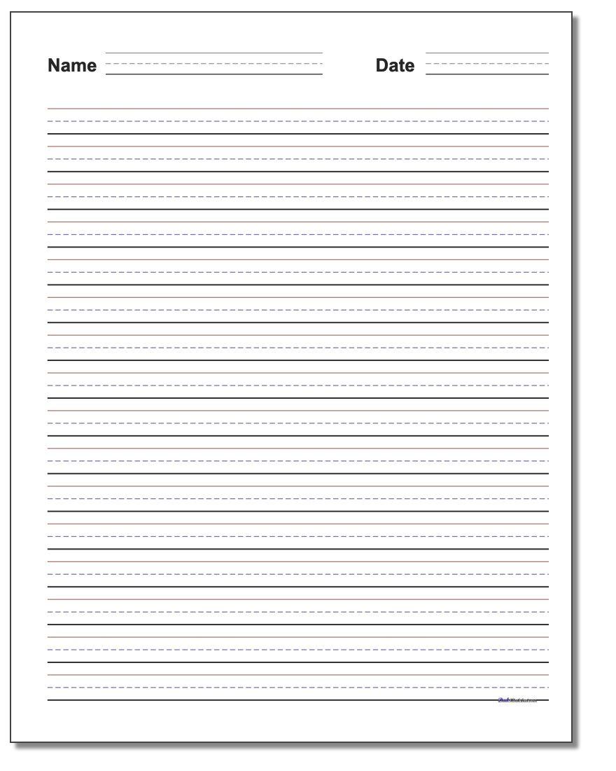Handwriting Paper | Printable Blank Handwriting Worksheets