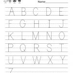Handwriting Practice Worksheet   Free Kindergarten English Worksheet | Alphabet Practice Worksheets Printable