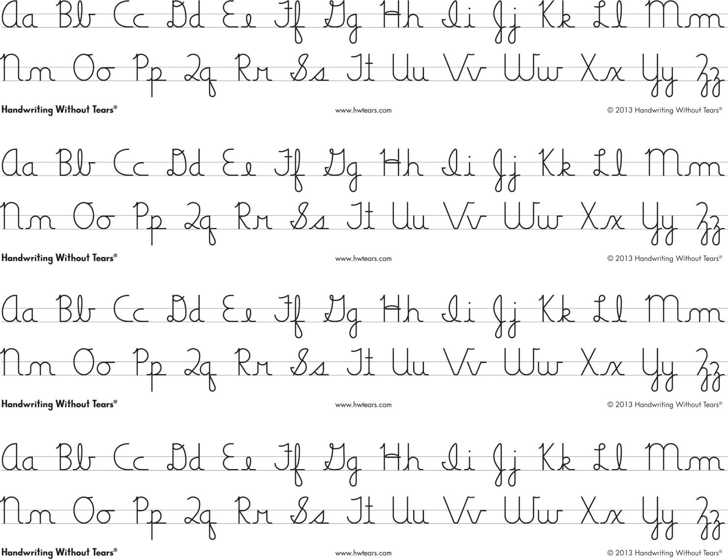 Handwriting Without Tears Cursive Alphabet Desk Sheets, 4 Strips Per | Handwriting Without Tears Worksheets Free Printable