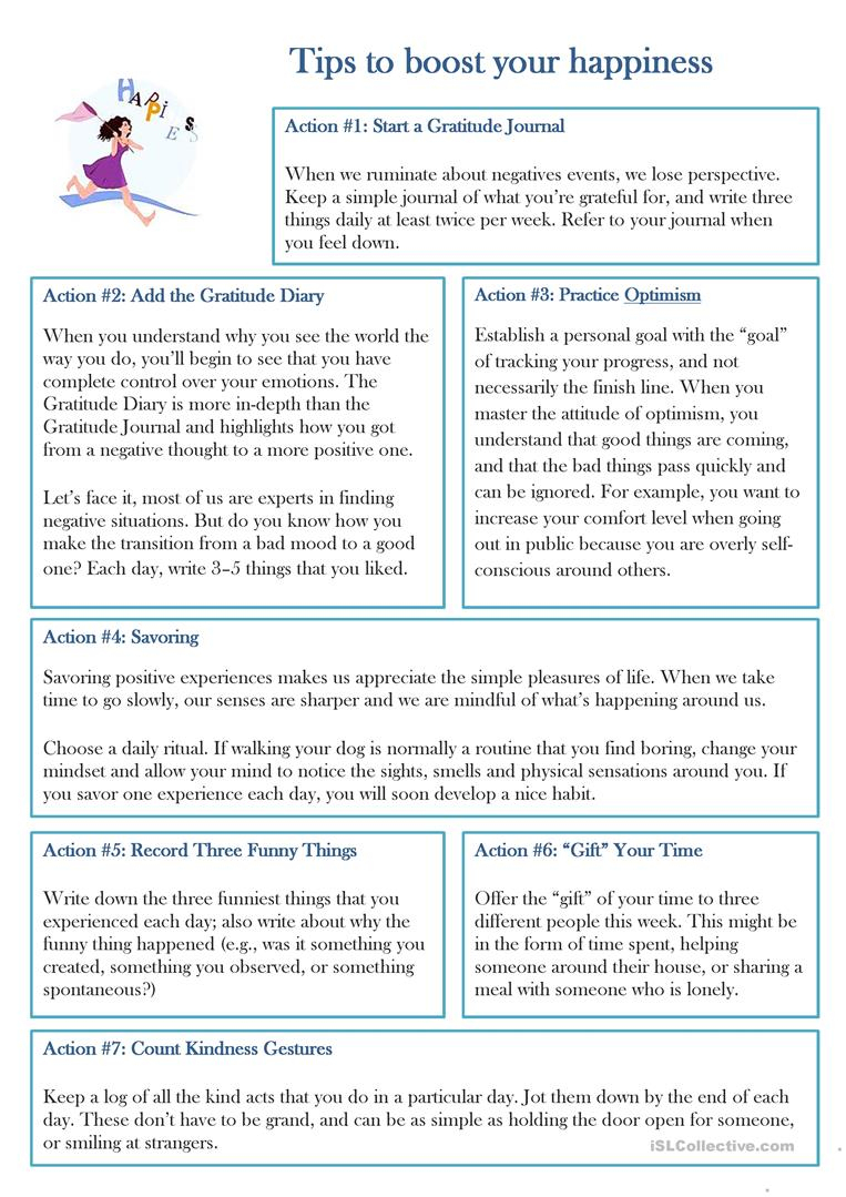 Happiness Worksheet - Free Esl Printable Worksheets Madeteachers | Happiness Printable Worksheets