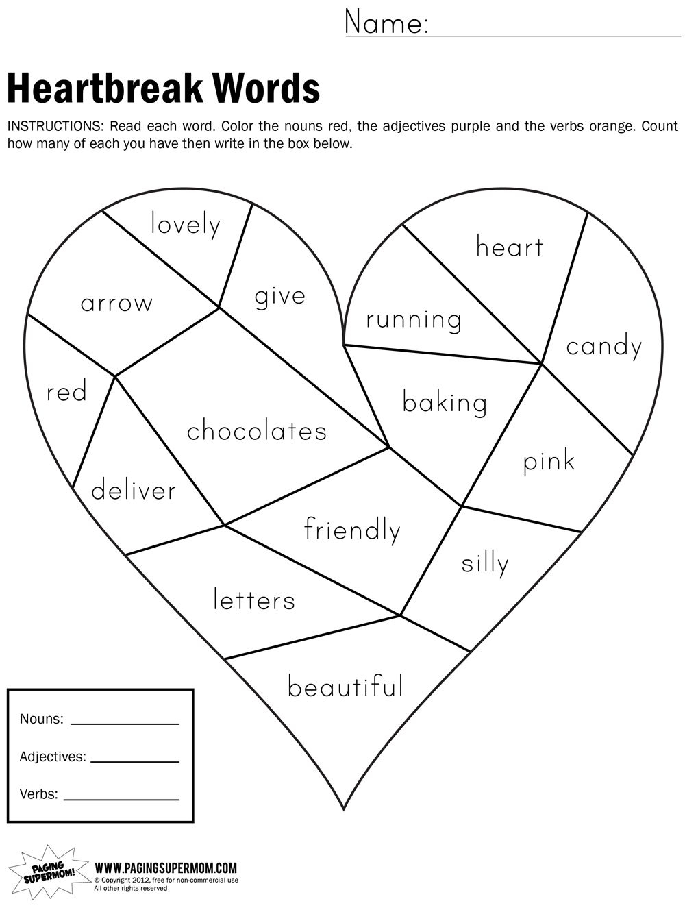 Heartbreak Words Free Printable Worksheet | Education---February | Free Printable Valentine Math Worksheets