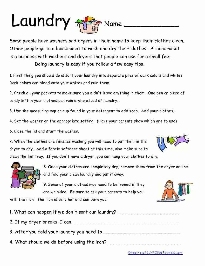 Here Is Another Life Skills Worksheet. I Wish All My Students Did | Laundry Worksheets Printable