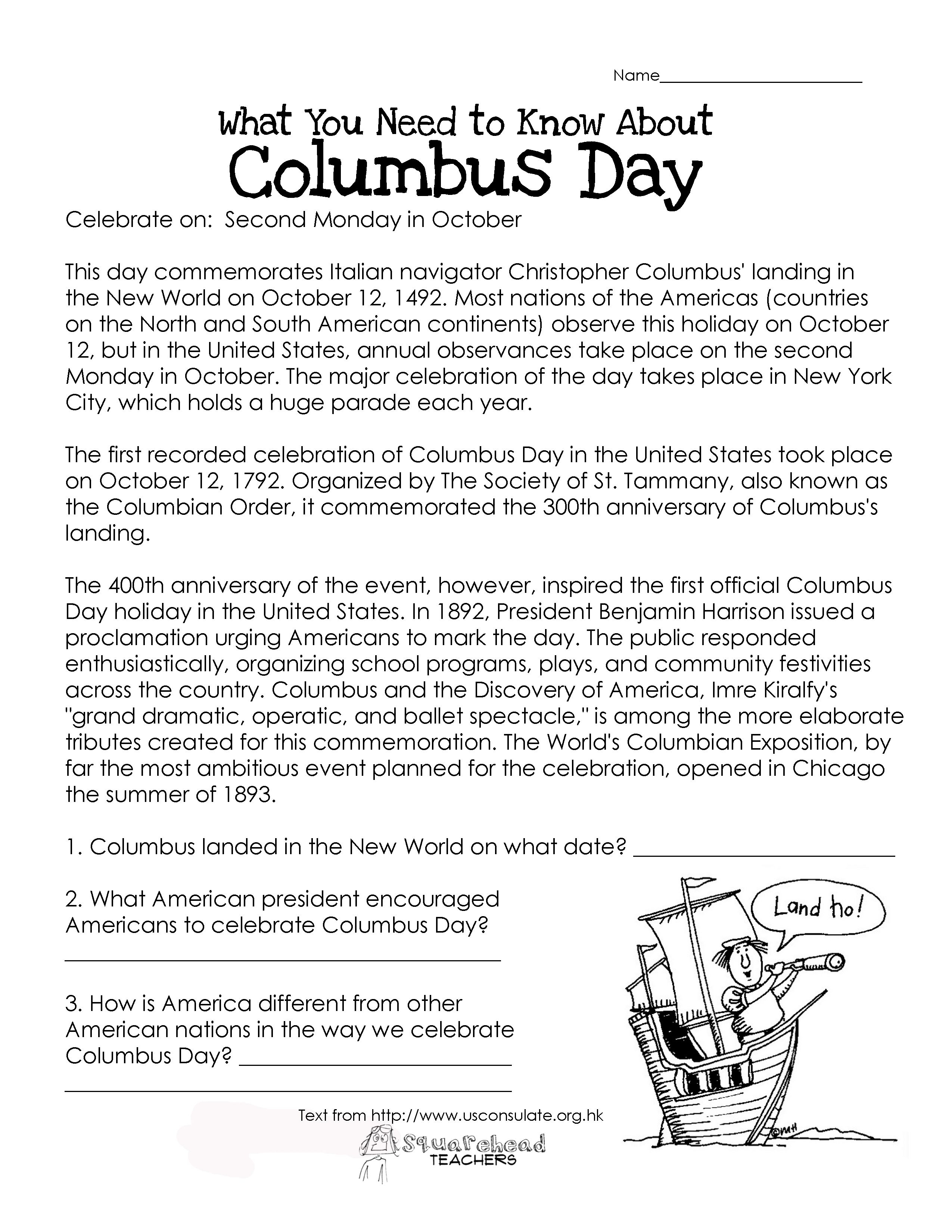Here's An Easy Free Comprehension Worksheet About The History Of | Columbus Day Worksheets Printable