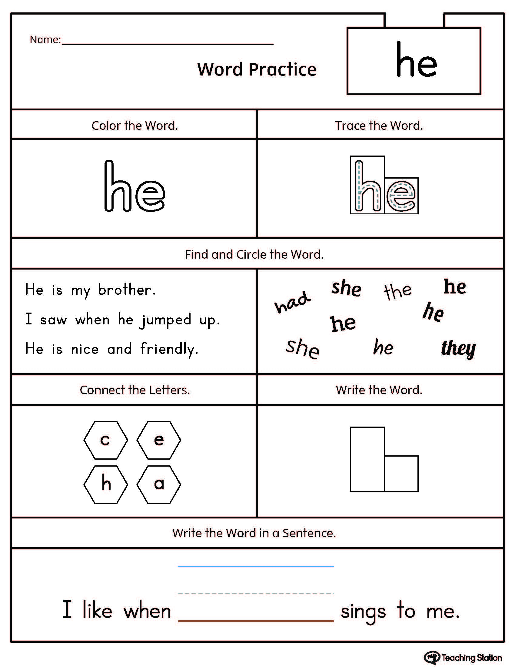High-Frequency Word He Printable Worksheet | Myteachingstation | Printable Sight Word Worksheets