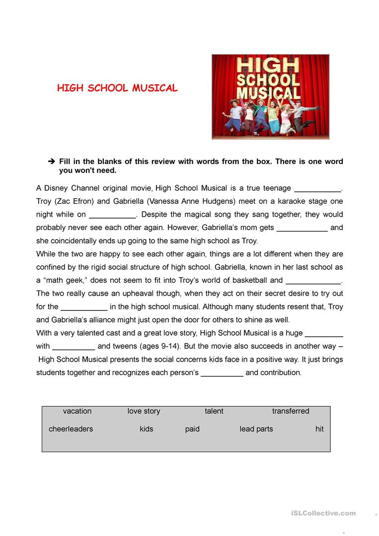 High School Musical Review Worksheet - Free Esl Printable Worksheets | Printable English Worksheets For Middle School