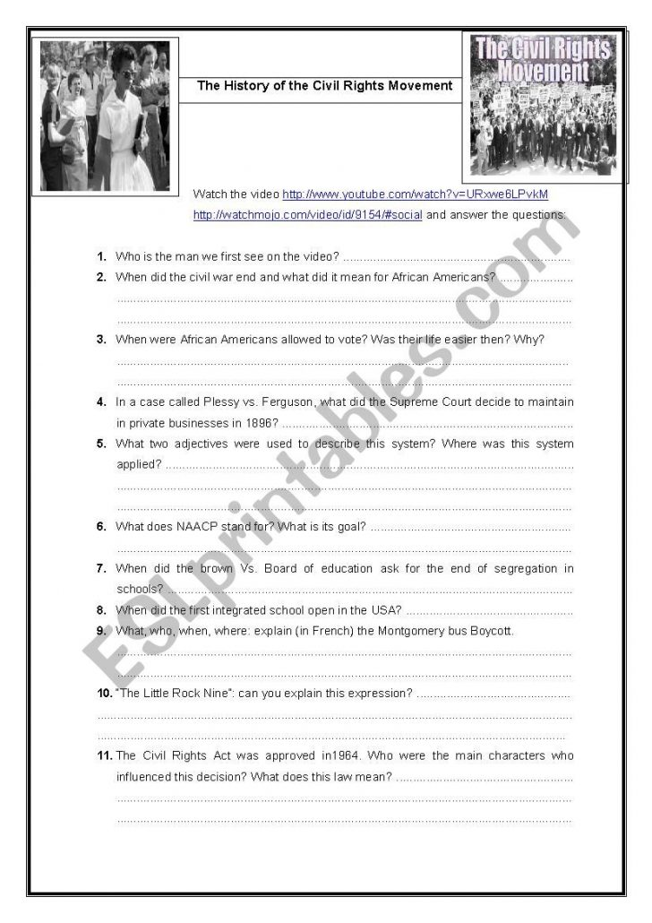 Civil Rights Movement Worksheets Printable