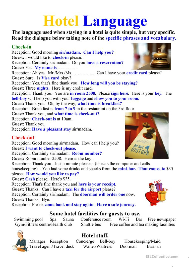 Hotel Language Worksheet - Free Esl Printable Worksheets Made | Hospitality Worksheets Printable