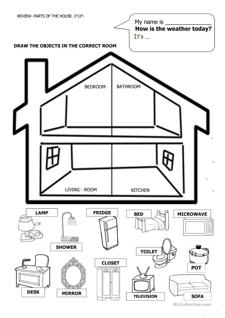 House And Furniture Worksheet - Free Esl Printable Worksheets Made | Home Worksheets Printables
