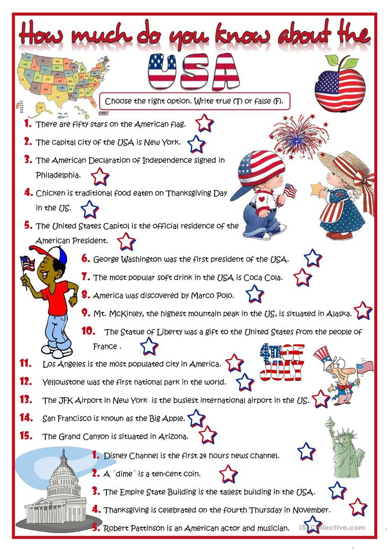 How Much Do You Know About The Usa? - Quiz Worksheet - Free Esl | Usa Worksheets Printables