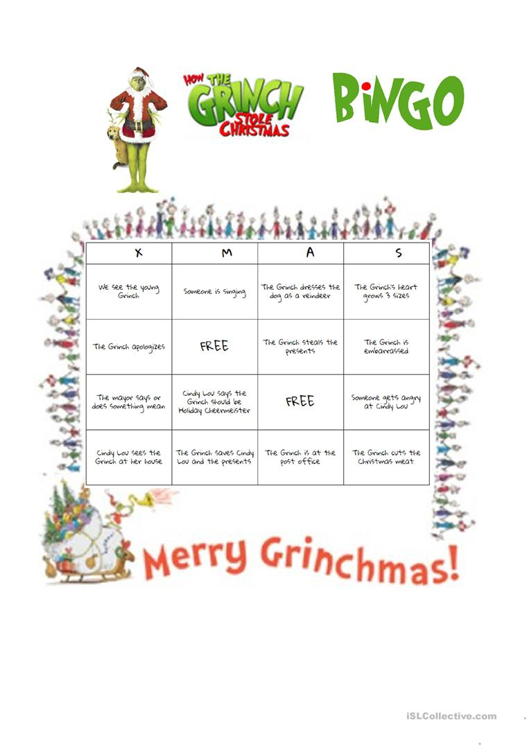 How The Grinch Stole Christmas (2000 Film) Bingo Worksheet - Free | Free Printable Grinch Worksheets
