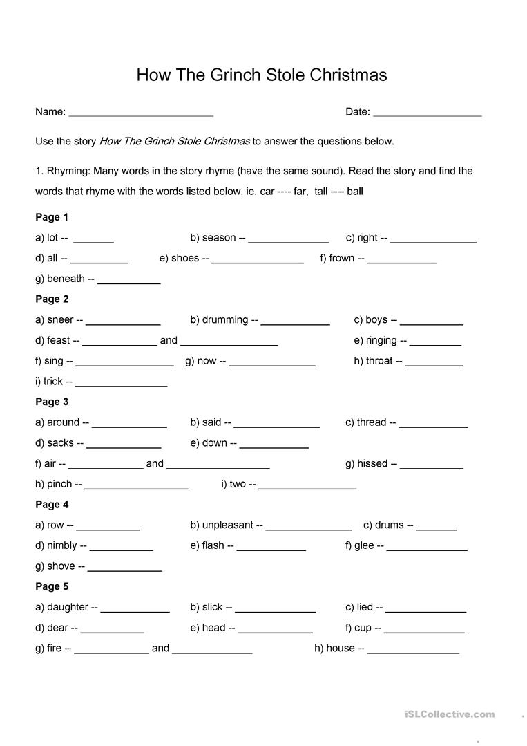 How The Grinch Stole Christmas - Rhyming And Comprehension Worksheet | Free Printable Grinch Worksheets