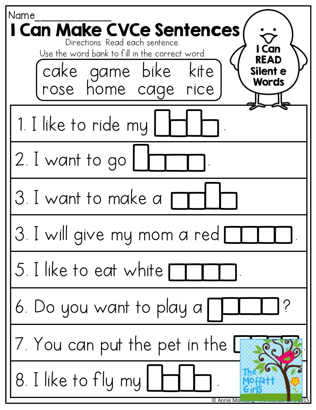 I Can Make Cvce Sentences! Tons Of Great Printables! | Moffatt Girl | Magic E Worksheets Free Printable