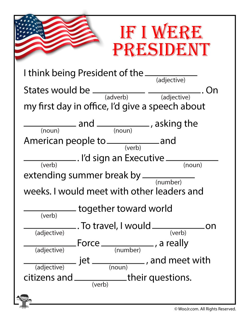 If I Were President Mad Lib For Kids   Woo! Jr. Kids Activities   If I Were President Printable Worksheet