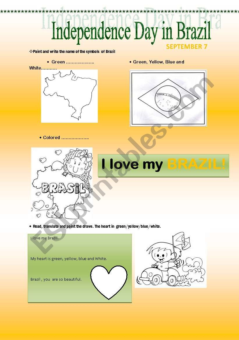 Independence Day In Brazil - Esl Worksheetmiriamgoshinha | Brazil Worksheets Free Printables