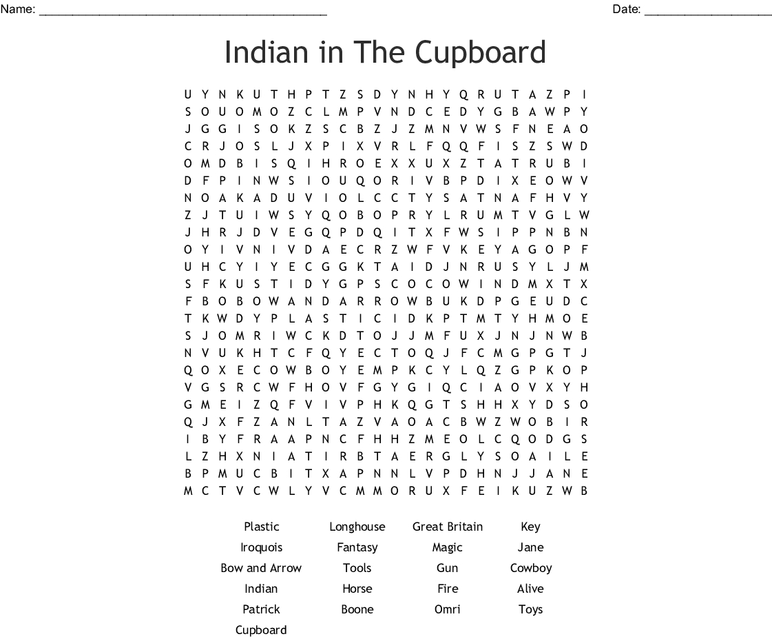 Indian In The Cupboard Word Search - Wordmint | Indian In The Cupboard Free Printable Worksheets