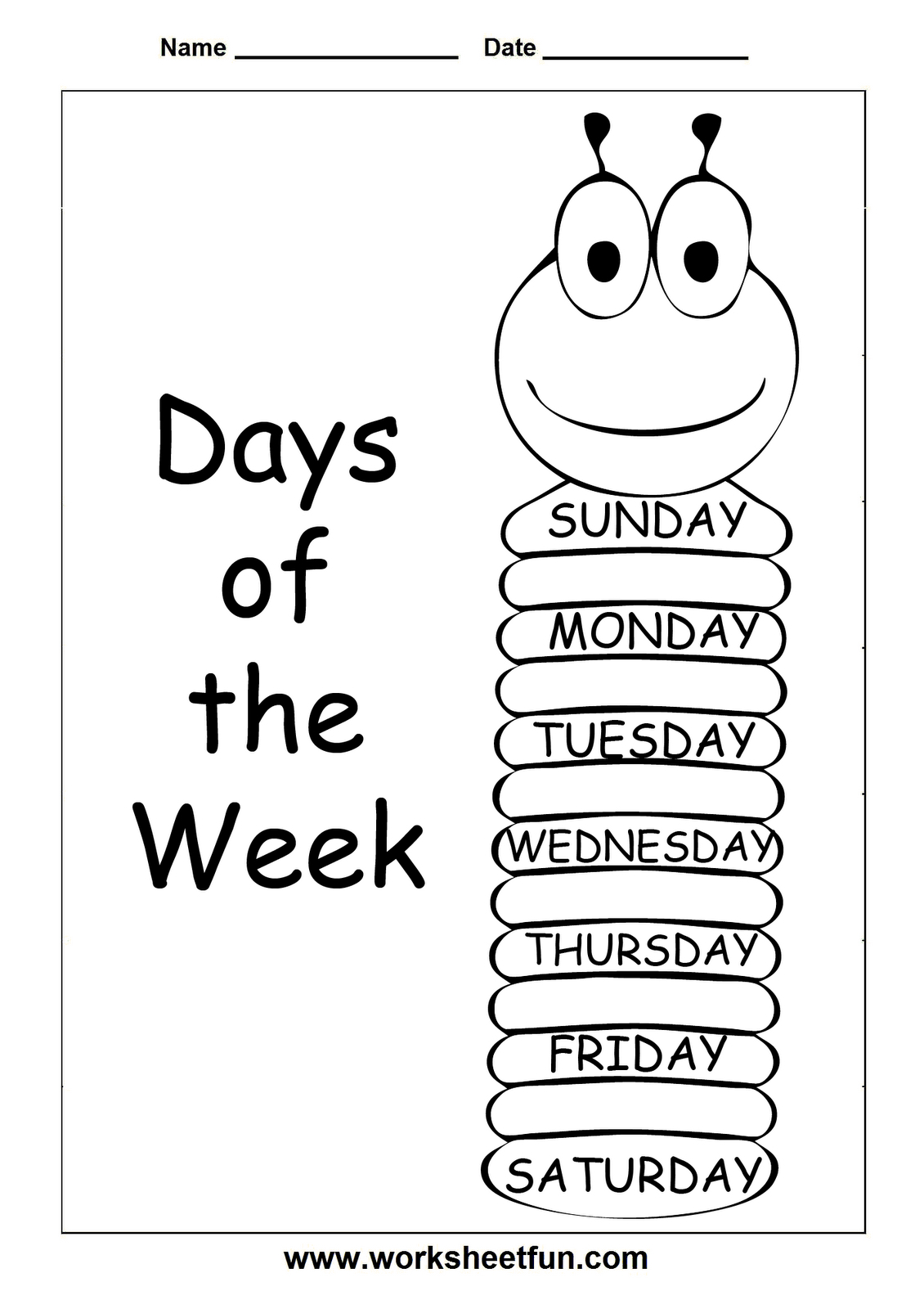 Insects Worksheets Free | Days Of The Week - Trace And Write - Free | Free Printable Worm Worksheets